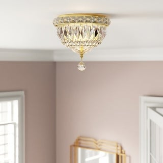 French Empire 3-light Full Lead Crystal Gold Finish 8-inch Round Flush Mount Ceiling Light
