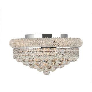 French Empire 8-light Full Lead Clear Crystal Chrome Finish 16-inch Round Flush Mount Ceiling Light