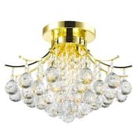 French Empire 3-light Full Lead Crystal Gold Finish Flush Mount Ceiling Light