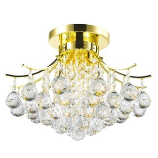 French Empire 3-light Full Lead Crystal Gold Finish Flush Mount Ceiling Light