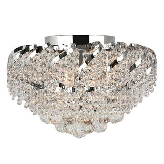 French Empire 6-light Full Lead Crystal Chrome Finish 16-inch Round Flush Mount Ceiling Light