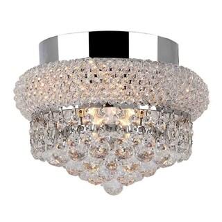 Empire 4-light Full Lead Crystal Chrome Finish 12-inch Round Flush Mount Ceiling Light