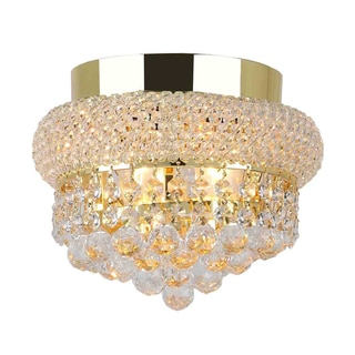 Empire 4-light Full Lead Crystal Gold Finish 12-inch Round Flush Mount Ceiling Light