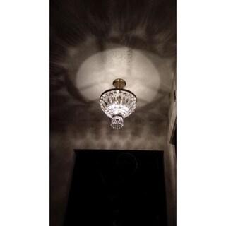Metro Candelabra 3-light Antique Bronze Finish with Full Lead Crystal 12-inch Round Semi Flush Mount Ceiling Light