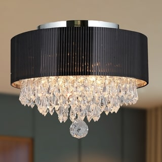 Contemporary 3-light Chrome Finish and Full Lead Crystal with Black Drum Shade Flush Mount Ceiling-light