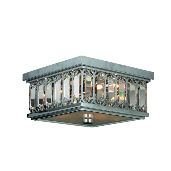 Metro Candelabra 4 Light Chrome Finish And Faceted Crystal 10 Inch Square Flush Mount