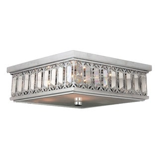 Contemporary 6-light Chrome Finish and Faceted Crystal 14-inch Square Flush Mount Ceiling Light