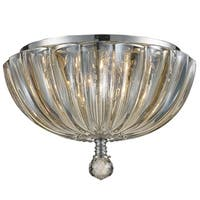 Metro Candelabra 3-light Chrome Finish and Faceted Crystal 10-inch Round Flush Mount Ceiling Light