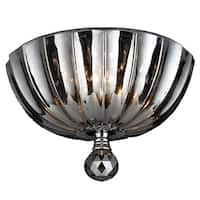 Metro Candelabra 3-light Chrome Finish and Faceted Smoke Crystal 10-inch Round Flush Mount Ceiling Light