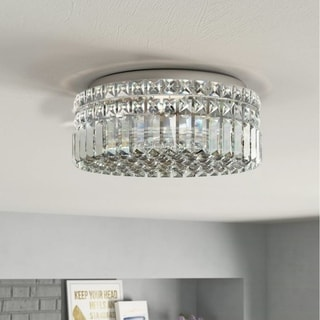 Sparkling 4-light Full Lead Crystal Chrome Finish Flush Mount Ceiling-light