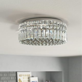 Glam Art Deco Style 4-light Full Lead Crystal Chrome Finish Flush Mount Ceiling Light