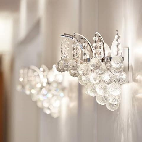 French Empire 3-light 16 in. Full Lead Crystal Chrome Finish Wall Sconce Light - Large Wall Sconce