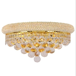 French Empire 3-light Full Lead Crystal Gold Finish Large Wall Sconce Light