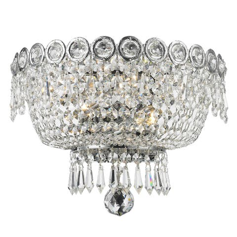 Buy crystal wall lights online at overstock our best lighting french empire 2 light full lead crystal chrome finish 12 inch wide medium wall aloadofball Image collections