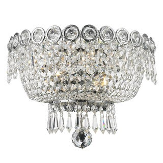 French Empire 2-light Full Lead Crystal Chrome Finish 12-inch Wide Medium Wall Sconce