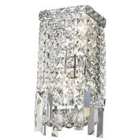 Glam Art Deco Style 2-light Full Lead Crystal Chrome Finish Wall Sconce Light