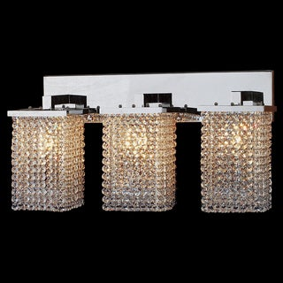 Glitter and Glamour 3-light Full Lead Crystal String Chrome Finish 25-inch Wide Vanity Wall Sconce Light