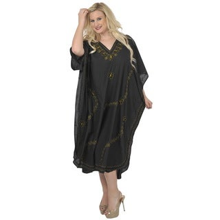 La Leela Designer RAYON Embroidered Women Beach PLUS Size Gold Kaftan Nightwear