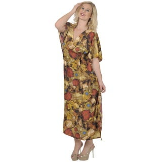 La Leela Smooth LIKRE Beach Long Kaftan Caftan Dress WOMEN Maxi Cover up Brown