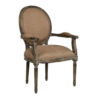 Round Back Medallion Arm Chair - Copper Linen and Limed Charcoal Oak