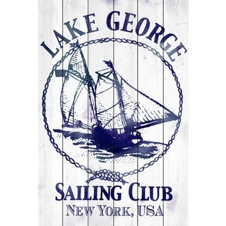 Marmont Hill Art Collective 'Lake George Sailing Club' White Wood Art