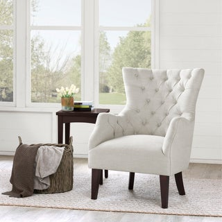 Hannah Off-White Upholstered Solid Hardwood Wingback Chair