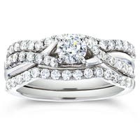 Annello by Kobelli 14k White Gold 7/8ct TDW Round-cut Diamond Bridal Set