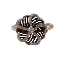 Luxiro Rose Goldtone and Black Sterling Silver Cubic Zirconia Flower Ring