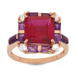 Gioelli Rose Goldplated Sterling Silver Multi-gemstone Square-shaped Ring
