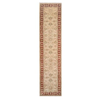 Herat Oriental Afghan Hand-knotted Vegetable Dye Oushak Ivory/ Red Wool Rug (2'8 x 10'10)