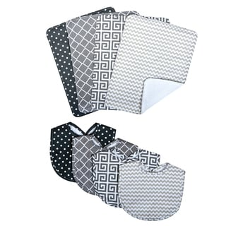 Trend Lab Ombre Gray Bouquet Bib and Burp Cloth Set