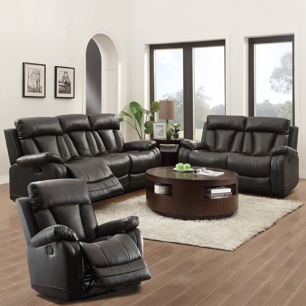 Ralston bonded leather reclining 3 piece living room set for 6 piece living room set
