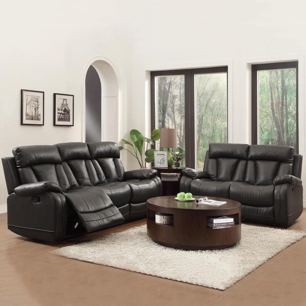 ralston bonded leather reclining sofa and loveseat set free shipping
