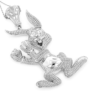Luxurman Goldplated Silver 2 1/2ct TDW Diamond Bugs Bunny Necklace (H-I, I1-I2)