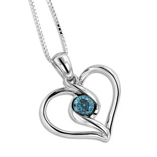 Luxurman 14k White Gold 1/6ct TDW Single Blue Diamond Heart Necklace