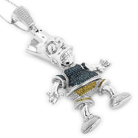 Luxurman Sterling Silver 3/4ct TDW Blue and Yellow Diamond Bart Simpson Necklace - White