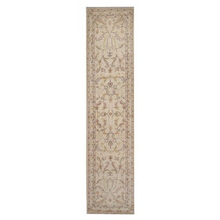 Herat Oriental Afghan Hand-knotted Vegetable Dye Oushak Ivory/ Red Wool Rug (2'7 x 11'1)