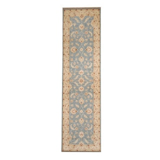 Herat Oriental Afghan Hand-knotted Vegetable Dye Oushak Light Blue/ Ivory Wool Rug (2'7 x 9'7)