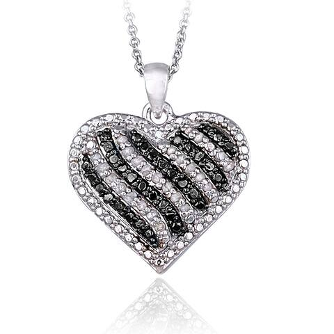 DB Designs Silvertone 1/2ct TDW Blue or Black & White Diamond Striped Heart Necklace