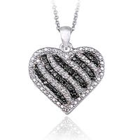 DB Designs Silvertone 1/2ct TDW Blue or Black & White Diamond Striped Heart Necklace