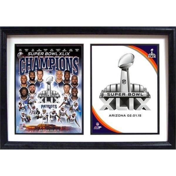 NFL Super Bowl XLIX Champion New England Patriots 12x18 Double Frame