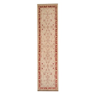 Herat Oriental Afghan Hand-knotted Vegetable Dye Oushak Ivory/ Red Wool Rug (2'5 x 10'1)
