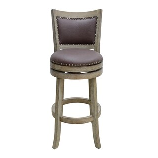 29-inch Cantabria Wire-brush Swivel Stool, Weathered White