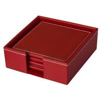 Dacasso Colors Faux Leather 4-Coaster Set with Holder - Rossa Red