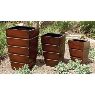 Set of 3 Contemporary Tapered Square Brown Planters by Studio 350