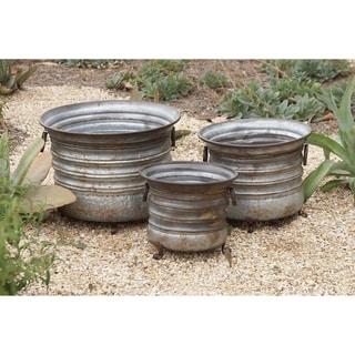 Round Metal Planters Pots (Set of 3)