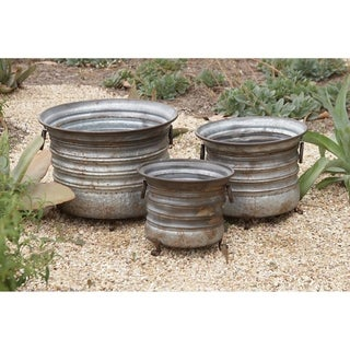 Link to Set of 3 Rustic 11, 13, and 15 Inch Round Metal Planters by Studio 350 Similar Items in Planters, Hangers & Stands
