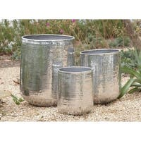 Set of 3 Large Round Silver Hammered Metal Planters by Studio 350