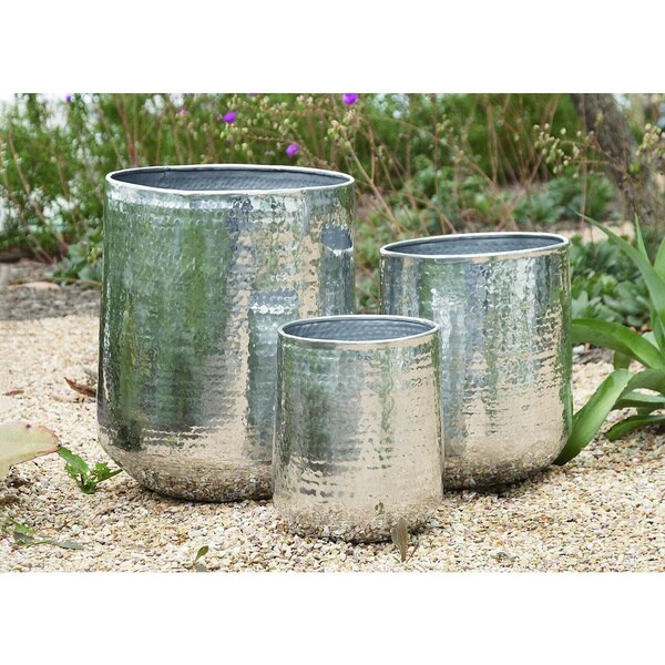 Set Of 3 Modern 13 16 And 21 Inch Aluminum Planters By Studio 350