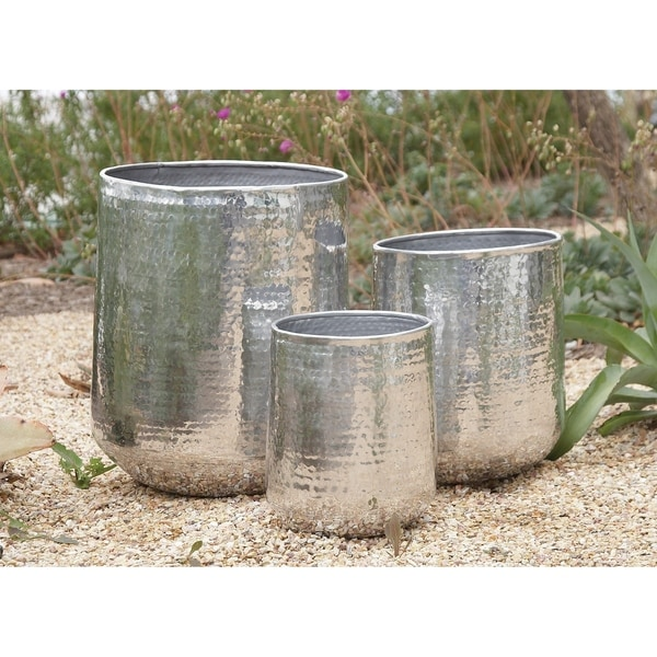 Set of 3 Modern 13, 16, and 21 Inch Aluminum Planters by Studio 350. Opens flyout.